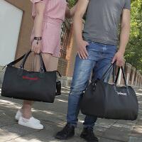 短途旅行包女手提行李袋男大容量牛津布行李包轻便防水运动健身包 白色英文字