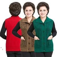秋冬妈妈装马夹针织开衫羊毛外套大码中老年妇女坎肩背心马甲