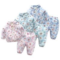 女婴1岁男宝宝加厚保暖家居套装新生儿冬季套