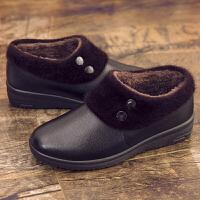 冬季女士棉皮鞋防滑加绒加厚 黑色双点款 35