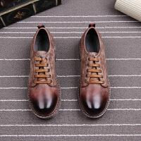 复古男士休闲鞋擦色个性皮鞋英伦风系带厚底内增高男鞋圆头大头鞋