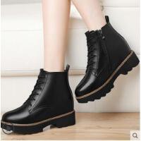 古奇天伦英伦风短靴粗跟韩版百搭内增高女靴新款秋季马丁靴女