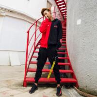 秋季男士外套连帽套头卫衣男学生韩版潮流嘻哈宽松bf长袖百搭衣服