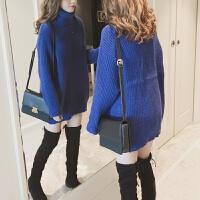 高领毛衣女秋冬新款韩版套头女宽松中长款纯色打底针织上衣潮 均码