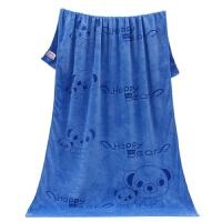 宝宝婴儿浴巾新生儿童柔软盖毯比纯棉纱布更吸水加厚大毛巾被 深蓝色 薄款小熊 140x70cm