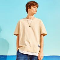 A21男士夏季短袖男潮纯色t恤男圆领落肩欧美潮牌体恤男假两件半袖