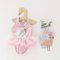 儿童泳衣女孩宝宝连体小天鹅粉女童宝宝婴儿可爱蓬蓬裙式泳装