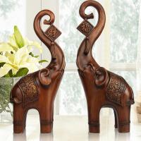 大象摆件一对风水象工艺品乔迁礼品欧式家居装饰品电视柜摆设 木纹色财富象一对