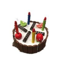 巧克力生日蛋糕 木制幼儿童过家家水果切切看玩具女孩新年礼物