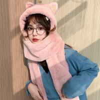 生日礼物抖音同款冬季帽子猫朵护保暖手套三件一体帽子儿童加绒可爱圣诞礼物女【双层加厚粉均码(54-58cm)