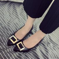2017春秋新款女鞋韩版浅口尖头红色高跟鞋粗跟小码方扣中跟单鞋夏