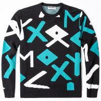 男式几何毛衣 日系男装大码套头圆领男式针织衫加肥加大衣服货源 黑色