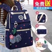 帆布包双肩包女韩版大高中学生学院风旅行包校园书包女卡通背包