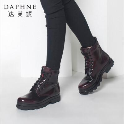 达芙妮秋冬季新款短靴休闲舒适圆头系带中跟马丁靴短筒女靴子