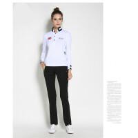 高尔夫服装女 长袖T恤 golf女士球服 韩款秋冬立领条纹女装