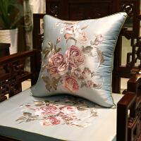 中式刺绣沙发坐垫仿古实木家具圈椅垫加厚罗汉床海绵座垫定制