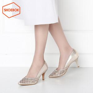 达芙妮旗下SHOEBOX/鞋柜时尚套脚尖头高跟鞋女鞋细跟镂空单鞋女