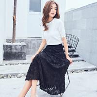 RANJU 然聚2018女装夏季新品新款韩版立体花朵雪纺半身裙长裙