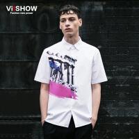 viishow夏装新款短袖衬衫 欧美时尚白色短袖衬衫男 印花衬衣