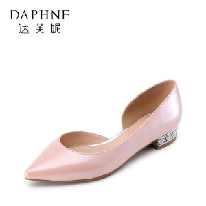 Daphne/达芙妮 杜拉拉春夏侧空尖头水钻平底女潮鞋