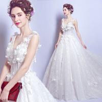 深v领蕾丝花朵公主新娘大拖尾婚纱礼服新款2108Q 白色 X