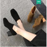 古奇天伦春季新款百搭韩版复古皮鞋方头奶奶鞋高跟鞋女粗跟英伦女鞋子YU05005