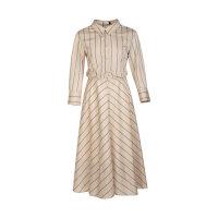 LILY新款女装双门襟设计撞色条纹衬衫式连衣裙120210C7104