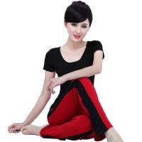 新款瑜伽服套装 撞色愈加短袖跳操服 瑜珈健身服女 支持礼品卡支付