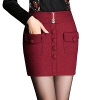 毛呢半身裙秋冬季新款短裙高腰修身包臀裙女装一步裙韩版女裙 酒红色 短裤内衬