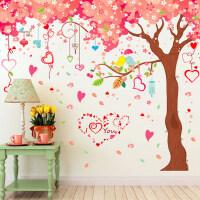 大型客厅电视背景墙壁装饰墙贴纸卧室浪漫温馨卡通动漫贴画樱花树