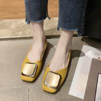 新款韩版软底一脚蹬舒适女鞋方扣上班鞋方头浅口奶奶鞋女