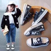 女童帆布鞋�和�鞋�底春秋款男童板鞋����潮鞋