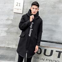 中长款棉衣男潮牌外套冬季男士韩版潮流修身加厚黑色连帽大衣 黑色 M
