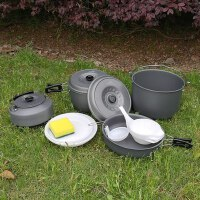 便携套锅7-8人户外便携铝合金野餐套锅 野营炊具锅具茶壶餐具套装
