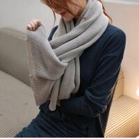 韩版纯色针织毛线围巾女冬天围巾披肩两用秋冬季长款加厚学生围脖