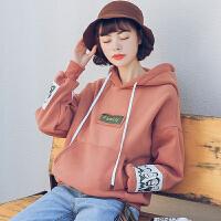 加绒卫衣女连帽套头秋冬新款韩版学生宽松BF风卡通印花带帽衫 M 80--100斤
