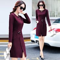 连衣裙秋冬款秋装新款韩版修身显瘦时尚中长款长袖气质打底裙