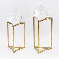 ????金礼诚 水晶玻璃摆件工艺品 新古典金色装饰品 合金水晶球摆件 喜迎国庆