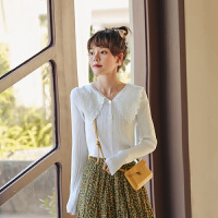 娃娃领长袖针织衫2020年秋季新款女套头坑条韩版修身百搭上衣毛衣