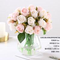 仿真12头玫瑰花束假花仿真花摆件家居客厅装饰花绢花婚庆手捧花艺