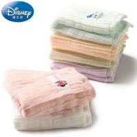 迪士尼Disney米妮米奇6重纱手帕 纯棉小毛巾 宝宝 新生儿 柔软