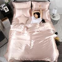 夏季四件套床上用品1.8m双人床单夏天冰丝绸凉被套2米x2.3米欧式4 淡雅玉-送睡衣或抱枕 升级版-双面冰丝