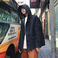 韩版春季男士连帽夹克宽松复古水洗口袋装饰工装潮外套