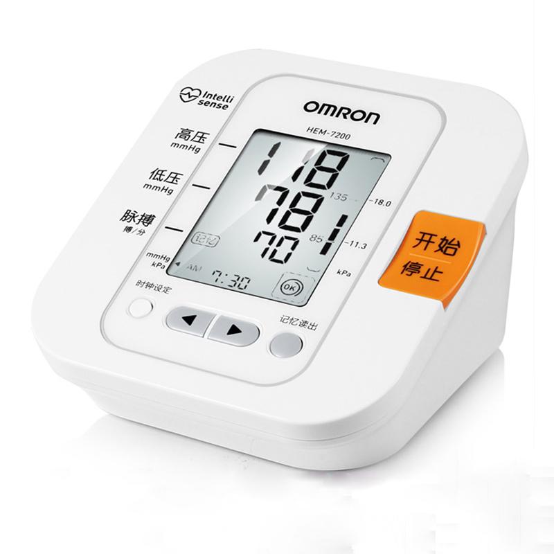 [当当自营]欧姆龙(OMRON)电子血压计 HEM-7200 家用上臂式 送稳压电源大屏幕,智能加压,改良袖带,高压提醒