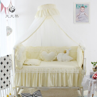 公主风 纯色蕾丝花边婴儿床围 婴儿床品 宝宝床品 无荧光剂全棉