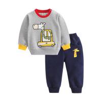 儿童套装 宝宝两件套 春秋装 小鹿 婴幼儿外出服 灰色+藏青色 90cm(90cm(开肩 可开裆 ))