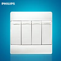 飞利浦Q4系列墙壁面板开关插座Q4-264四位四开单控单极开关白色