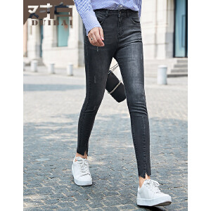 对白2017秋装新款裤子 水洗磨白小脚牛仔裤女 脚口开叉休闲铅笔裤