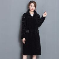 8903原创韩版修身羊剪绒大衣羊羔毛皮毛一体皮草外套女中长款 冬