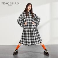 太平鸟黑白格子连衣裙女韩版2019秋装新款长袖收腰显瘦气质娃娃裙